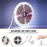 手波センサーLEDライトストリップ、SOLMORE 9.8?Ft / 3?m 2835smd LED柔軟なストリップライト、アクティブセンサーキャビネットライト、ディマーライト夜のホームキッチン廊下ベッドサイドランプ(ピュアホワイト)