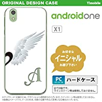 X1 スマホケース androidone ケース アンドロイドワン イニシャル 翼(ペア) 白(右) nk-x1-478ini D