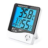 デジタル温湿度計 室内 LCD大画面温湿度計 バックライト付き カレンダー機能 置き掛け両用タイプ 健康管理 操作簡単 (ホワイト)