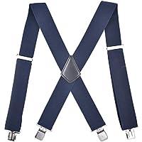 MENDENG Men's Elastic Suspender Adjustable X Shape Braces Heavy Duty