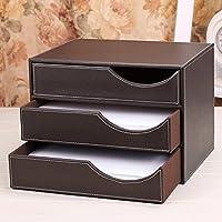 WTL かご?バスケット 革の収納ボックスの家のデスクトップの破片の収納ボックス (色 : ブラウン ぶらうん, サイズ さいず : 23.6*25.6*23.7cm)