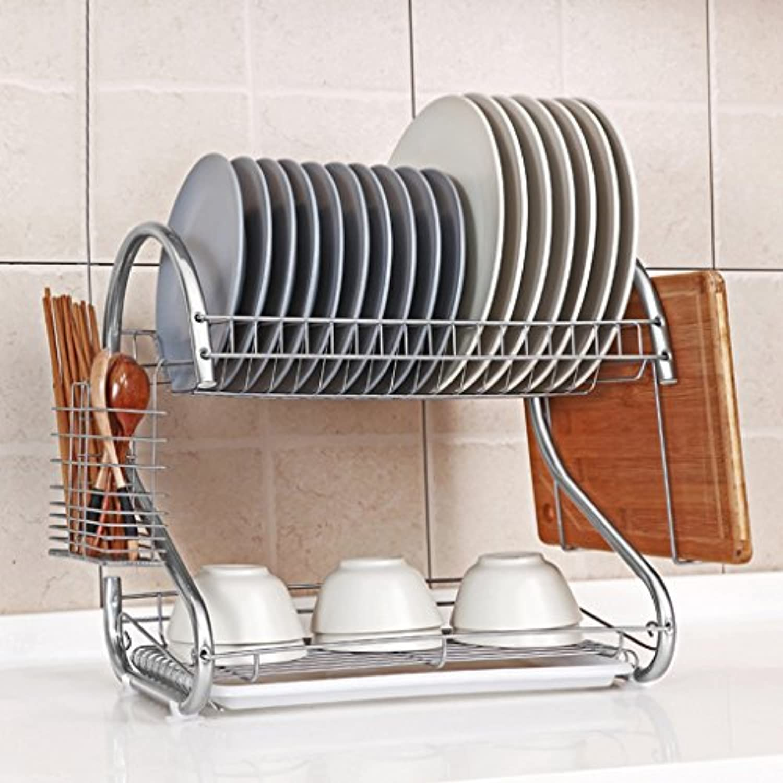 キッチンラックステンレス鋼の皿ラックのカトラリー箸ラック棚ラックの排水棚