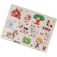 Dovewill 全8種類 1セット 木製 ジグソーパズル ベビー 幼児 幼稚園 子供 就学前教育 おもちゃ 目と手の協調を改善 ギフト   - ファーム