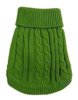 (つながる)Vedem 犬猫用セーター 小型犬の冬服 秋冬 編み 厚手 防寒 セーター犬服 コスチューム (S, グリーン)