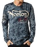 (ノートン) NORTON 長袖 Tシャツ ムラ染め 63N1112 (ブラック・サイズM)