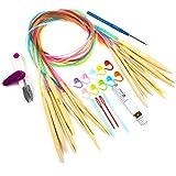 LIHAO かぎ針 輪針 10本 3.5㎜から10㎜まで 約98㎝ 棒針 手編み道具 段数マーカー とじ針 レス針 ハサミ付き 27点セット