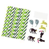amleso 約24本 ストロー ジャングルパーティーの装飾 8枚カード 装飾小道具