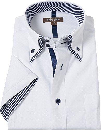 シャツスタイル(shirt style)半袖 ワイシャツ 白柄 サイズ/S M L LL 3L/ysh-5002
