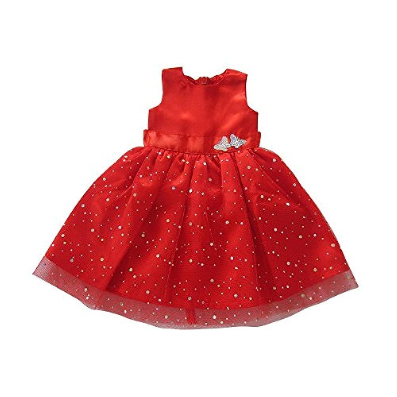 人形ドレスfor 18インチ人形、Beautifulレッドドレスwith Dots Outfit Fits American Girl人形、Our Generation and Other 18インチ人形