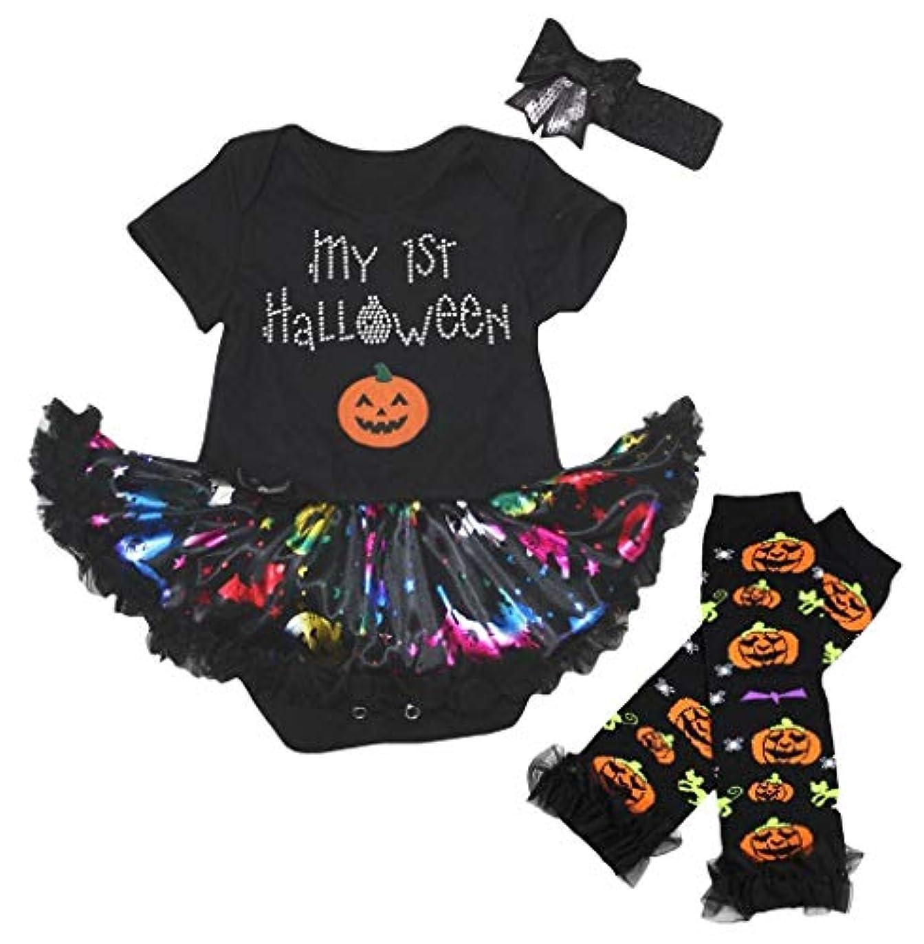 誇り有望解き明かす[キッズコーナー] ハロウィン My 1st Halloween パンプキン 子供コスチューム、子供のチュチュ、ベビー服、女の子のワンピースドレス Nb-18m (ブラック, Small) [並行輸入品]