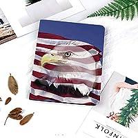 IPad 2/ iPad 3/ iPad 4 ケース - Apple iPad 2/3/4 第二世代 第三世代 第四世代タブレット用 PC + PUレザー 2つ折スタンドケースイーグルアイコン二重露光市民イメージと風にアメリカ国旗を祝福