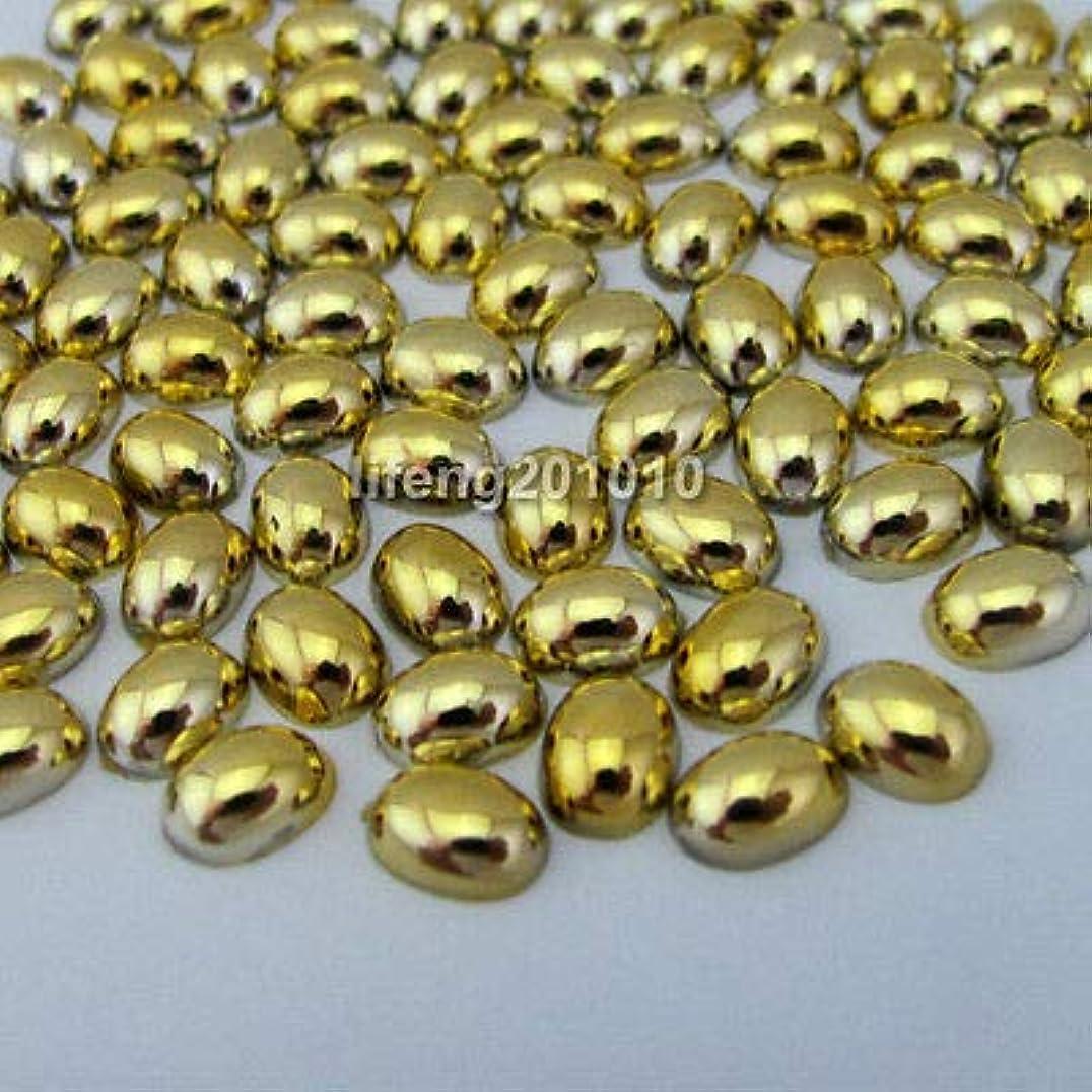 マティスなしで有用FidgetGear 100ピース金属メッキアクリルネイルアートフラットバックラインストーン携帯電話の装飾 ゴールド
