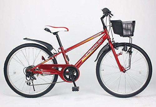21Technology 24インチ マウンテンバイク kd246 6段ギア付き (レッド24)
