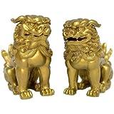 風水開運置物 狛犬(獅子狛犬)金8 cm