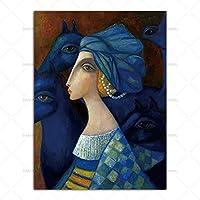 キャンバスウォールアートの絵画、Hdキャンバスプリントポスター油絵スタイル女性肖像抽象ポスター現代壁アートインクジェット絵画画像用リビングルーム家の装飾50×70センチ