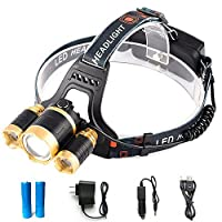 GWH 5000 Lumen Zoom 3 CREE XML T6 LED Headlamp Waterproof Outdoor Headlight Rechargeable Head Light Lamp for Camping Hunting Cycling Working Hiking by GWH