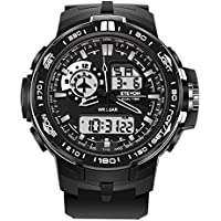 ETEVON Men's 'Air Force' Soft Big Face Analog Digital Watch Dual Time Waterproof EL Backlight, Fashion Military Outdoor Sport Watches for Men - Black