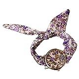 PolytreeレディースGirl 's花柄布バンドフラワードレスクォーツ腕時計(タイプ12)