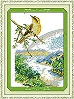 LovetheFamily クロスステッチキット DIY 手作り刺繍キット 正確な図柄印刷クロスステッチ 家庭刺繍装飾品 11CT ( インチ当たり11個の小さな格子)中程度の格子 刺しゅうキット フレームがない - 41×54 cm 春の鳥
