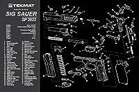 Tekmat Sig Sauer sp2022クリーニングマット/ 11x 17Thick、丈夫、防水/ハンドガンクリーニングマットパーツ図と手順/ Armorersベンチマット/ブラックとグレー