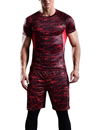 Hanyam ランニングウェア メンズ 上下 セット ドライ 半袖 吸汗 速乾 高弾力 防臭 スポーツウェア コンプレッションウェア red L