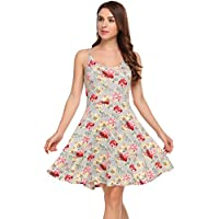 Women's Casual Fit and Flare Floral Sleeveless Beach Slip Strap Dress