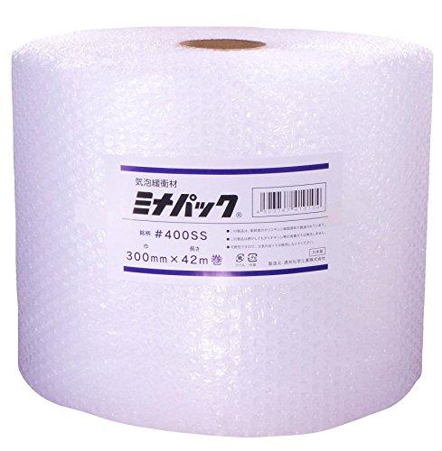 【 日本製 】 酒井化学 #400SS 300mm×42m 緩衝材 ロール ミナパック < 個包装 >【 高品質ポリエチレン製 エアキャップ 】