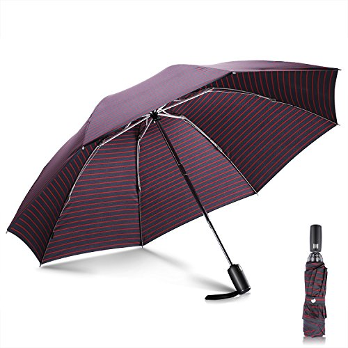 折りたたみ傘 Leebotree ワンタッチ自動開閉 逆折り式傘 高強度8本骨 耐強風 210T超撥水 大きい118CM 晴雨兼用 折り畳み傘 軽量 で収納ポーチ付き 梅雨対策 アウトドア用 旅行用 (ストライプ)