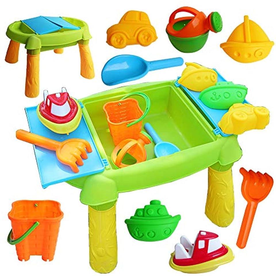 テスト本体心のこもった砂と水プレイテーブルプラスチック子供屋外ビーチおもちゃの種類のアクセサリーとスツール