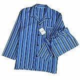 (ティアナ23)Tianna23 メンズ 長袖 パジャマ 前開き ルームウェア 綿100% 上下2点セット ストライプ ブルー L