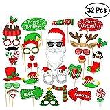 クリスマス写真ブース小道具 32ピース DIYキット ドレスアップ装飾 新年パーティー用