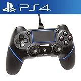 【E-game】 PS4 コントローラー DUALSHOC4 (PS4/PS3 USB接続 6軸センサー 振動機能 対応) クロス & 日本語説明書 & 1年保証付き「ブラック&ブルー」