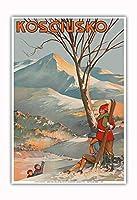 マウント Kosciuszko、オーストラリア - スキー - ビンテージな世界旅行のポスター によって作成された Geo. E. (ジョージ・アーネスト) アキンヘッド c.1925 - アートポスター - 33cm x 48cm