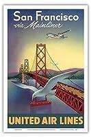サンフランシスコ経由でエリート航空機 - ユナイテッド航空 - サンフランシスコ - オークランドベイブリッジ - ビンテージな航空会社のポスター によって作成された ウィリアム・ローソン c.1950s - アートポスター - 31cm x 46cm