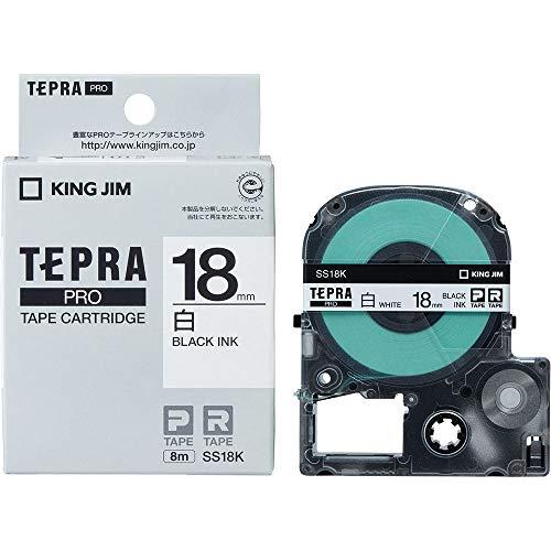 テプラ PRO用テープカートリッジ 白ラベル SS18K [黒...