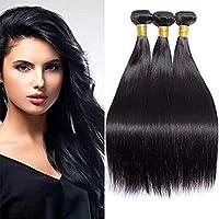髪織り8aグレードペルーストレート人間の髪の毛1バンドルディール絹のようなストレートバージン人間の髪織りエクステンション混合ストレートヘアバンドル,Black,16inches