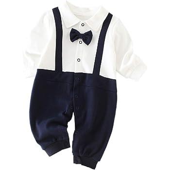 9f6cd45a85a31 Mum nny ベビーフォーマルロンパース 男の子 結婚式 新生児洋服 長袖 紺色蝶ネクタイ付き お宮参り