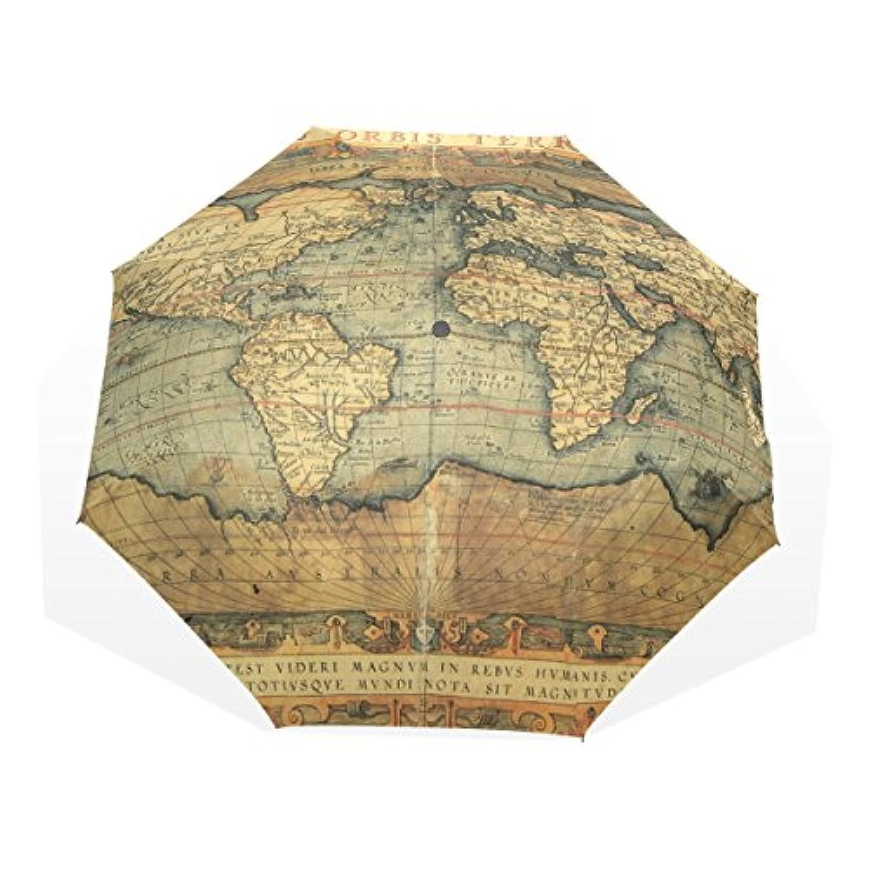 バララ(La Rose) 折り畳み傘 軽量 レディース 手開き 日傘 晴雨兼用 かわいい レトロ風 世界地図 絵画 子ども 折りたたみ 梅雨対策 頑丈な8本骨 三つ折り 遮光 丈夫 耐風 撥水 携帯用 収納ポーチ付き