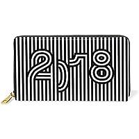 財布 レディース 長財布 大容量 かわいい 新年 数字柄 縞柄 ブラック ファスナー財布 ウォレット 薄型 本革 型押し 小銭入れ プレゼント用