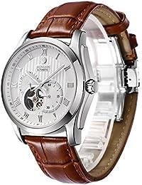 d7fdd1df0c BINLUN 腕時計 メンズ 自動巻 ビジネス 両面 スケルトン シースルーバック 機械式 ...