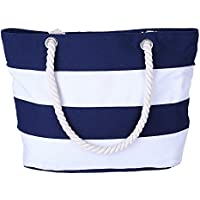 AIYoo Large Beach Bag with Inner Zipper Pocket and Rope Handle, Canvas Tote Bag for Travel,Shopping,Beach,Women Shoulder Bag