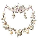 【J's select】結婚式 ブライダル 花嫁 パール アクセサリー ティアラ 髪飾り ネックレス イヤリング 3点セット