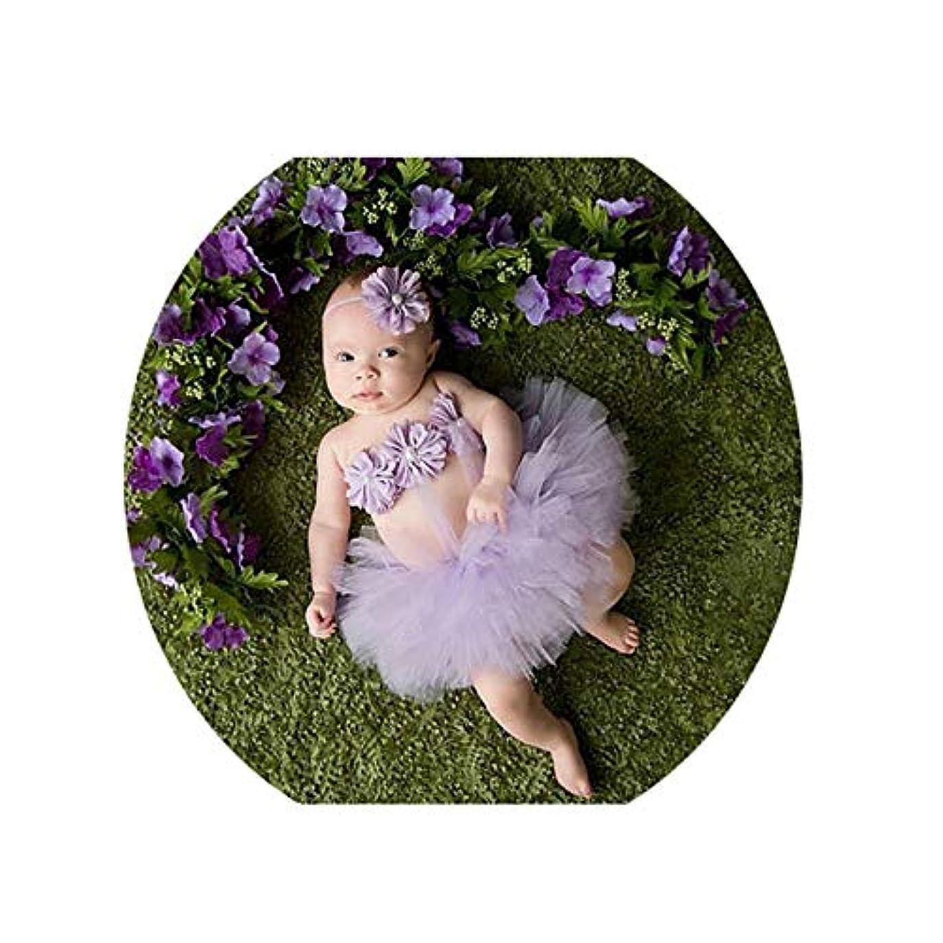 メンテナンスインク脆い写真を撮る道具 寝相アート ベビー 着 赤ちゃんの写真プロップ幼児チュチュスカート新生児衣装弓結び目ドレス衣装でヘッドバンド 出産祝い バースデー 記念撮影 プレゼント (色 : 紫の, サイズ : S)