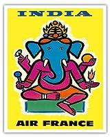 """インド–フランス–Hindu Lord Ganesha (ガネーシャ)–ヴィンテージ航空旅行ポスターbyジャン・カルリュc.1959–Fineアートプリント 16"""" x 20"""" APC3379"""