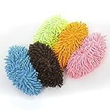 Life Connection 洗える モップ スリッパ 5足 セット マイクロファイバー (緑、ピンク、オレンジ、青、紫) 簡単 床掃除 ふわふわ もこもこ あったか