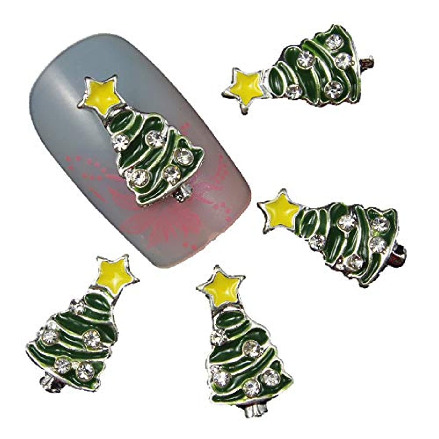テープうなずく行く10個/ロット3Dクリスマスツリーのネイルアートマジックカラーデザインのスタッドは、美容ネイルチャームラインストーン用品