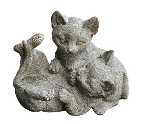 ガーデンアニマルオブジェ -ねこ 2匹じゃれあい- レジン ガーデニング雑貨 玄関 庭 ディスプレイ かわいい表情 ネコ 猫  garden objet ナチュラル グリーン インテリア