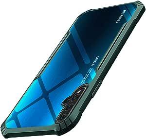 Huawei NOVA5T ケース/Honor 20 ケース 透明 衝撃吸収 強化有機ガラス背面+TPUバンパーアイホン 米軍MIL規格取得 四隅滑り止め 全面保護 取り出し易い 黄変防止 ワイヤレス充電対応 Huawei NOVA5T/Honor 20 ケース クリア 軽量 擦り傷防止 ストラップホール付き 携帯カバー ス 人気 グリーン DF-N5T-LVI