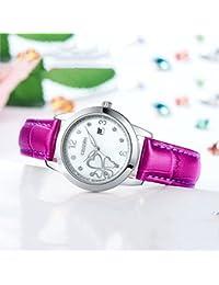 [シスデン]CISSDEN 腕時計 レディス クオーツ カジュアル 夜光 ダイヤモンド 防水 レザー ストラップ パープルシルバー