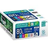 エコリカ 日本製 エプソン(Epson)対応 リサイクル インクカートリッジ  IC6CL80L 6色セット (目印:とうもろこし) ECI-E80L-6P